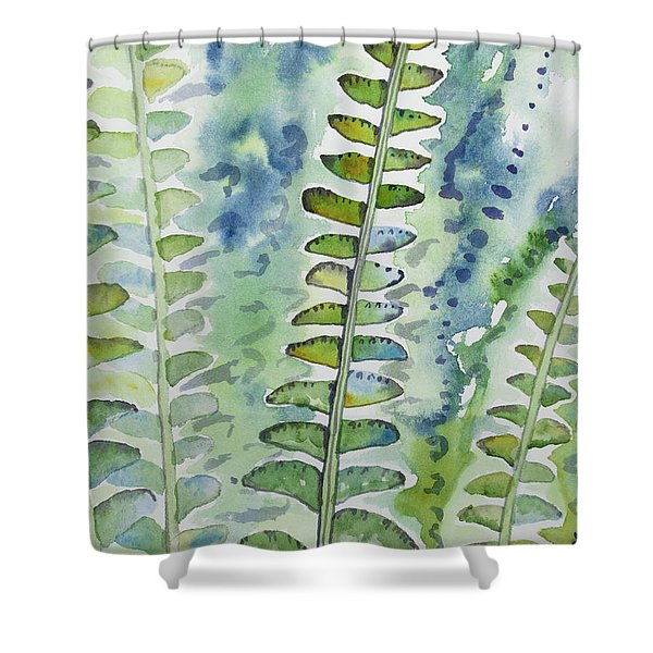 Watercolor - Rainforest Fern Impressions Shower Curtain