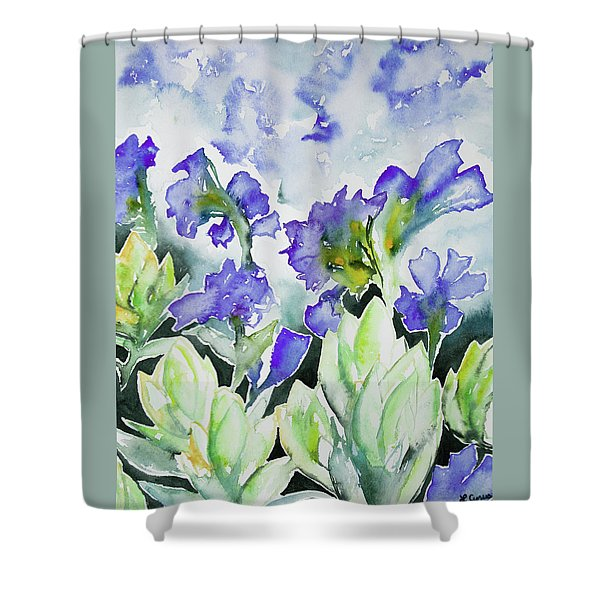 Watercolor - Rocky Mountain Wildflowers Shower Curtain