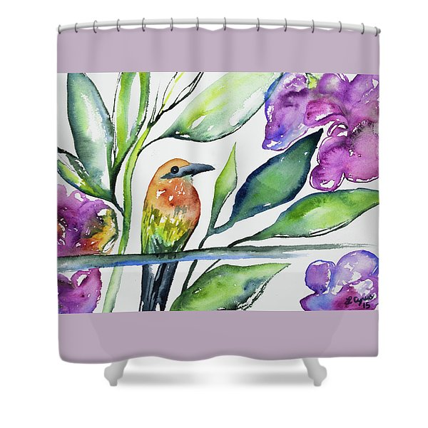Watercolor - Rufous Motmot Shower Curtain