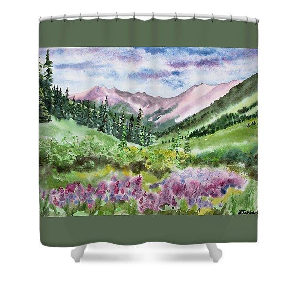 Watercolor - San Juans Mountain Landscape Shower Curtain