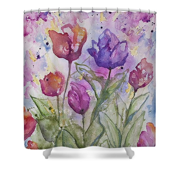 Watercolor - Spring Flowers Shower Curtain