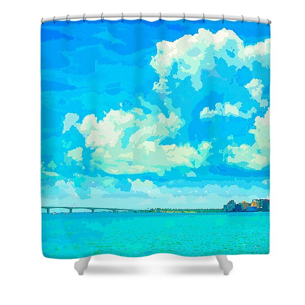 Watercolor Spring On Sarasota Bay Shower Curtain