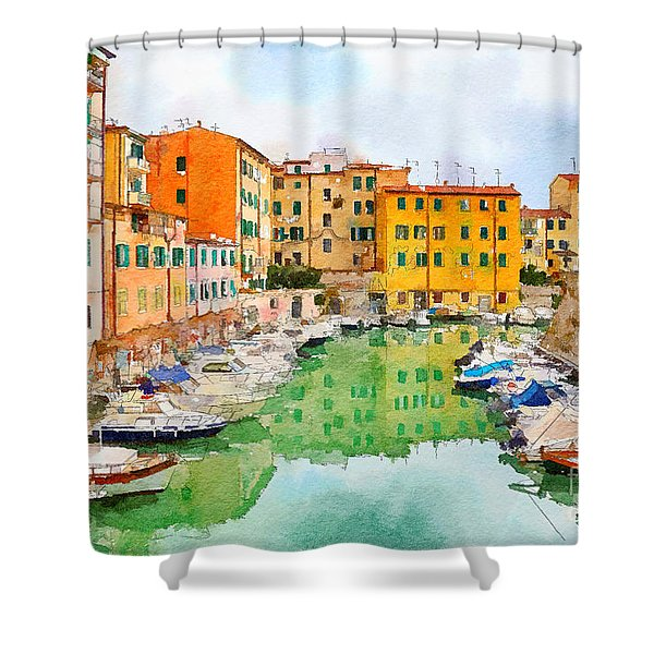 Watercolor Style Shower Curtain