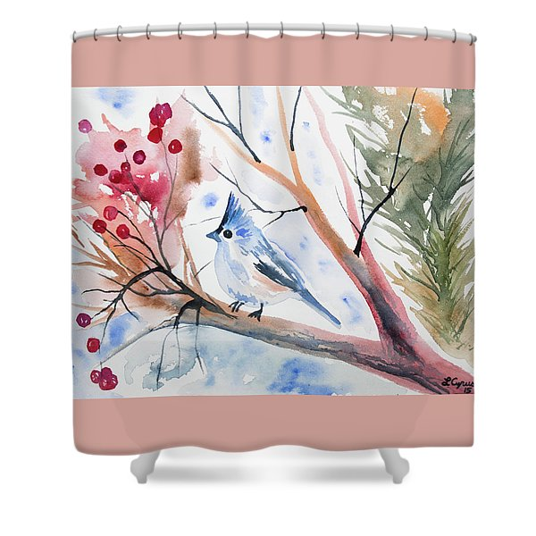 Watercolor - Tufted Titmouse With Winter Berries Shower Curtain