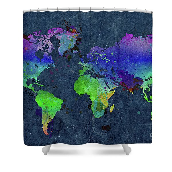 Watercolor World Map Blue Shower Curtain