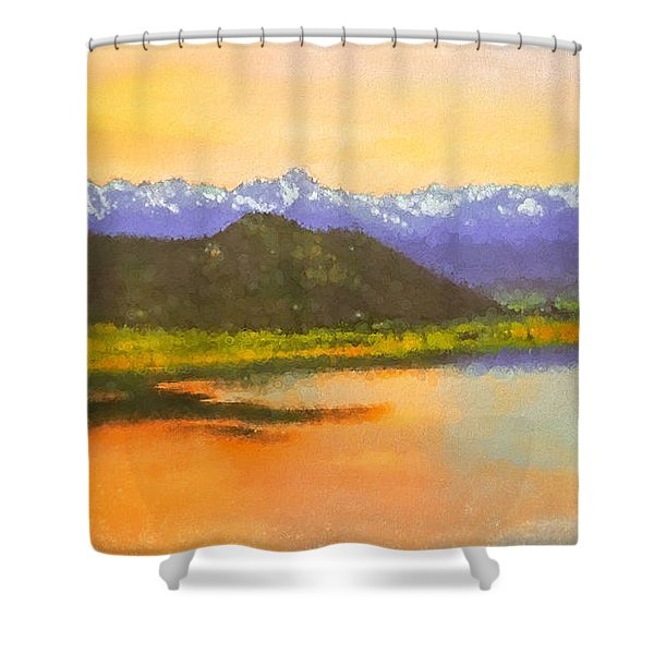 Watercolored Sunset Shower Curtain