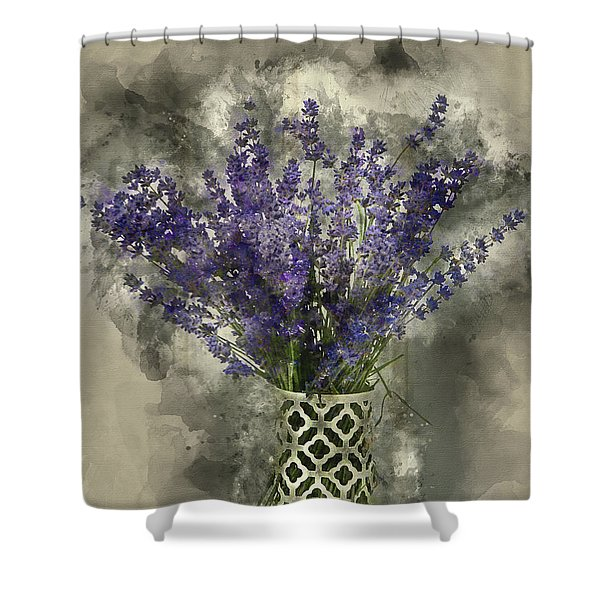 Watercolour Painting Of Beautiful Fragrant Lavender Bunch In Rus Shower Curtain