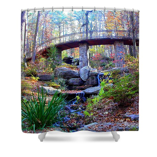 Waterfall And A Bridge In The Fall Shower Curtain