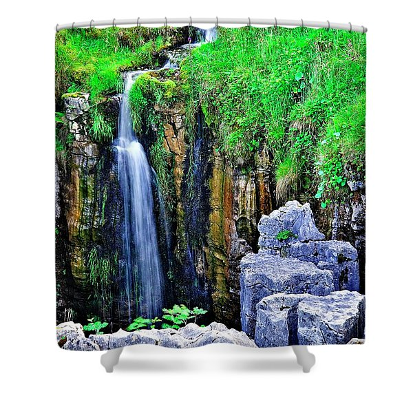 Waterfall At The Buttertubs, Swaledale Shower Curtain