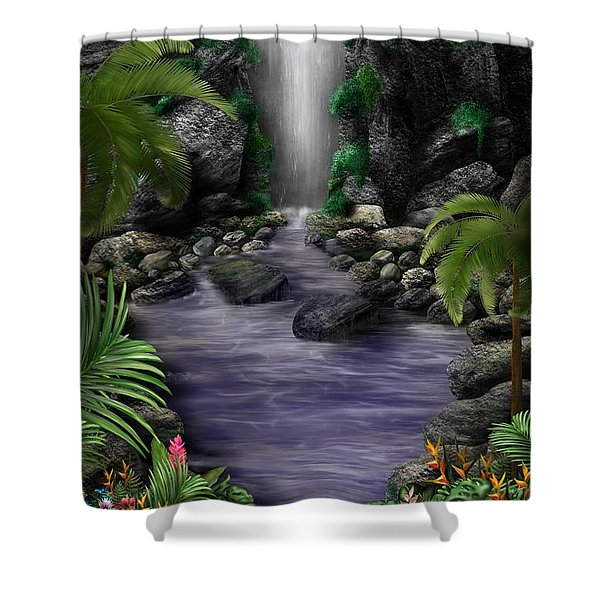 Shower Curtain featuring the digital art Waterfall Creek by Mark Taylor