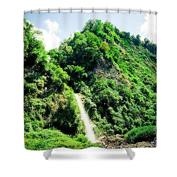 Shower Curtain featuring the photograph waterfall Himalayas mountains NEPAL by Raimond Klavins