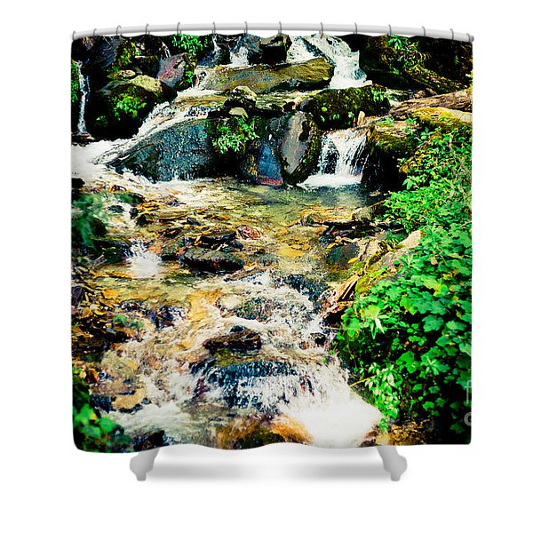 Shower Curtain featuring the photograph Waterfall In Himalaya Mountains, Nepal by Raimond Klavins