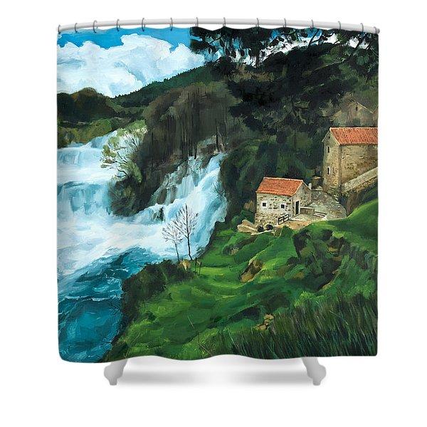 Waterfall In Krka Shower Curtain