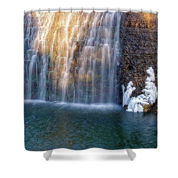 Waterfall In Winter Shower Curtain