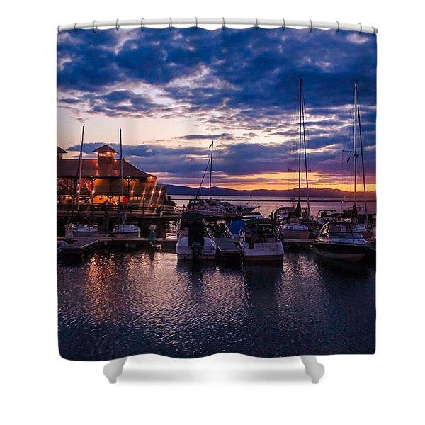 Waterfront Summer Sunset Shower Curtain