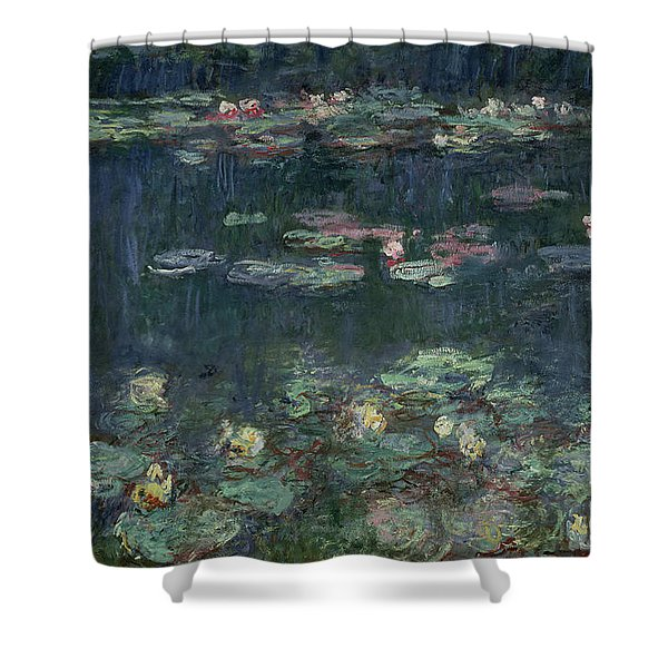 Waterlilies Green Reflections Shower Curtain