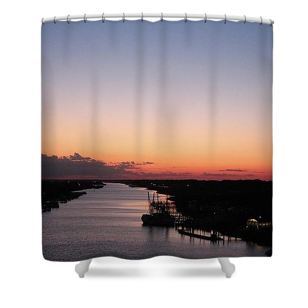 Waterway Sunset #1 Shower Curtain