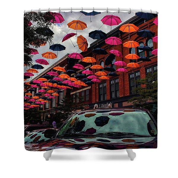Wausau's Downtown Umbrellas Shower Curtain