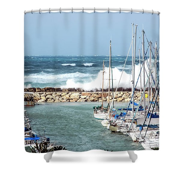 Wave Breaking Into The Harbour Shower Curtain