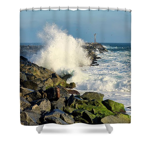 Wave Crash At The Wedge Shower Curtain