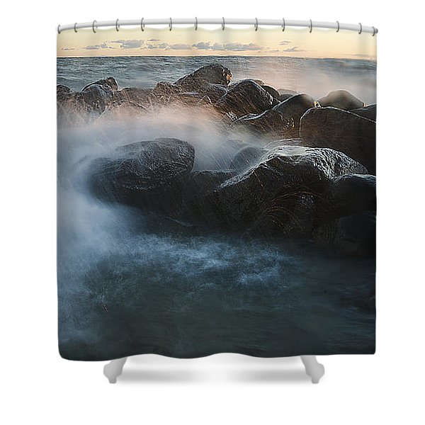 Wave Crashed Rocks 7947 Shower Curtain