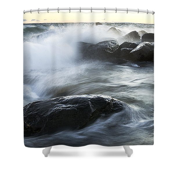 Wave Crashes Rocks 7833 Shower Curtain