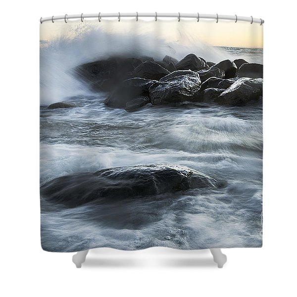 Wave Crashes Rocks 7835 Shower Curtain