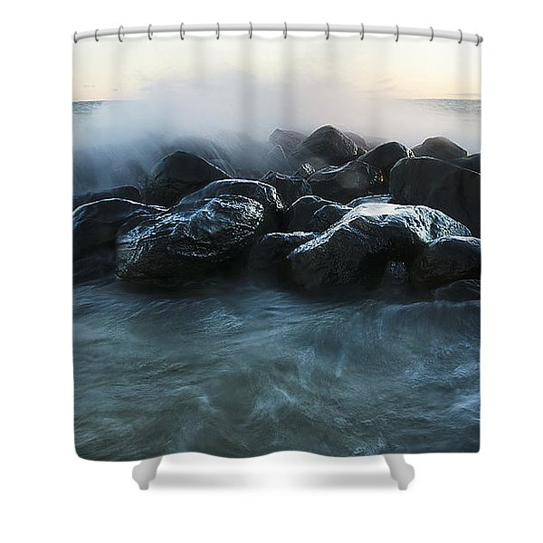 Wave Crashes Rocks 7959 Shower Curtain