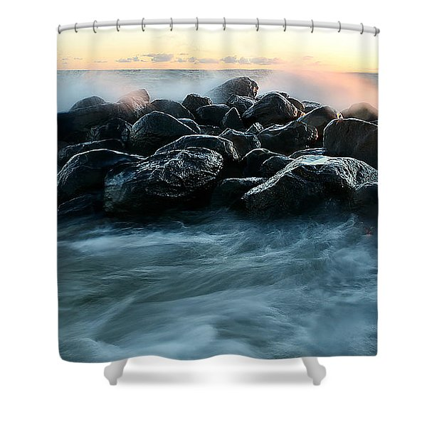 Wave Crashes Rocks 7941 Shower Curtain