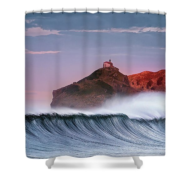 Wave In Bakio Shower Curtain