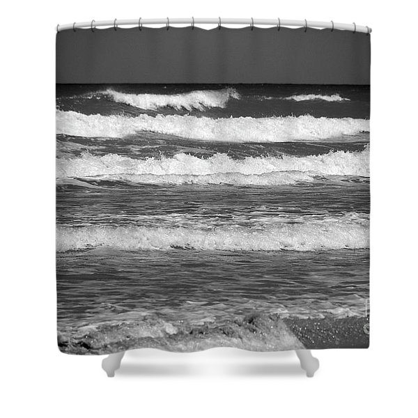 Waves 3 In Bw Shower Curtain