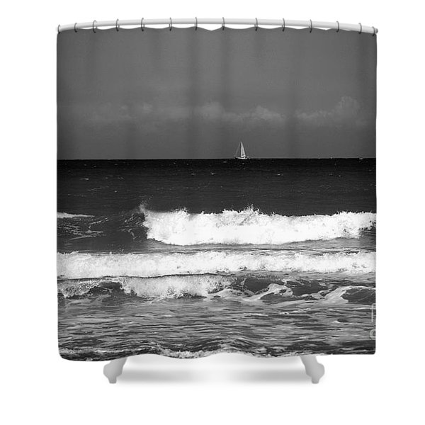Waves 4 In Bw Shower Curtain