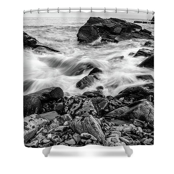Waves Against A Rocky Shore In Bw Shower Curtain