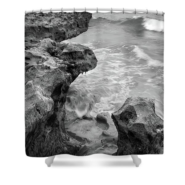 Waves And Coquina Rocks, Jupiter, Florida #39358-bw Shower Curtain