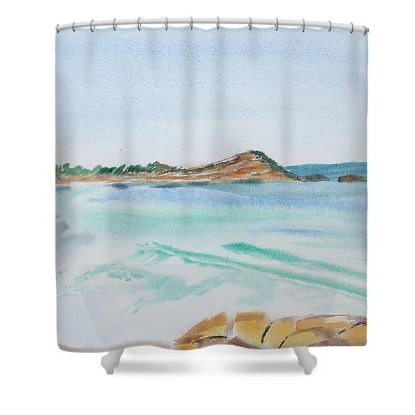 Waves Arriving Ashore In A Tasmanian East Coast Bay Shower Curtain