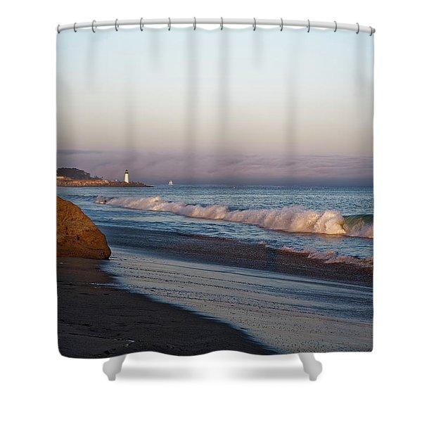 Waves At Santa Cruz Shower Curtain