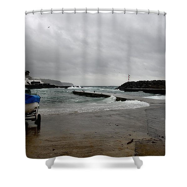 Waves Azores-033 Shower Curtain