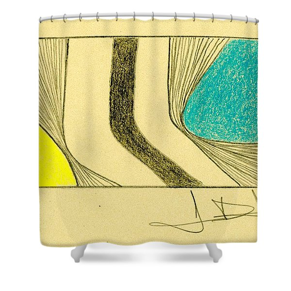 Waves Blue Yellow Shower Curtain