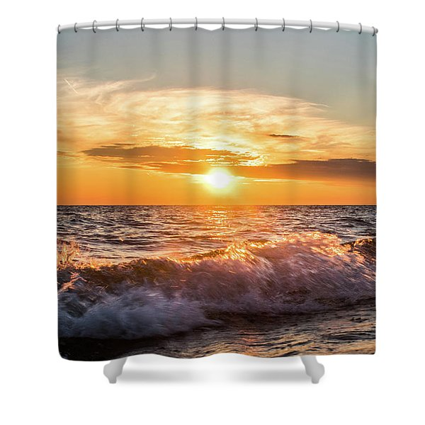 Waves Crashing With Suset Shower Curtain