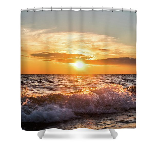 Shower Curtain featuring the photograph Waves Crashing With Suset by Lester Plank