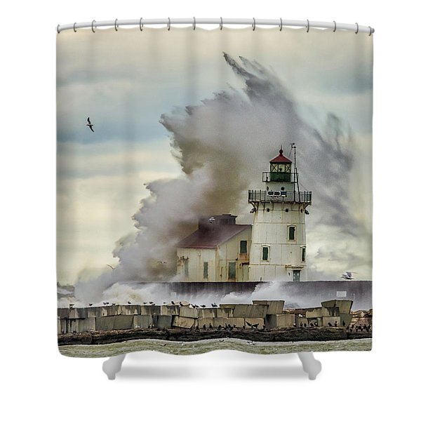 Waves Over The Lighthouse In Cleveland. Shower Curtain
