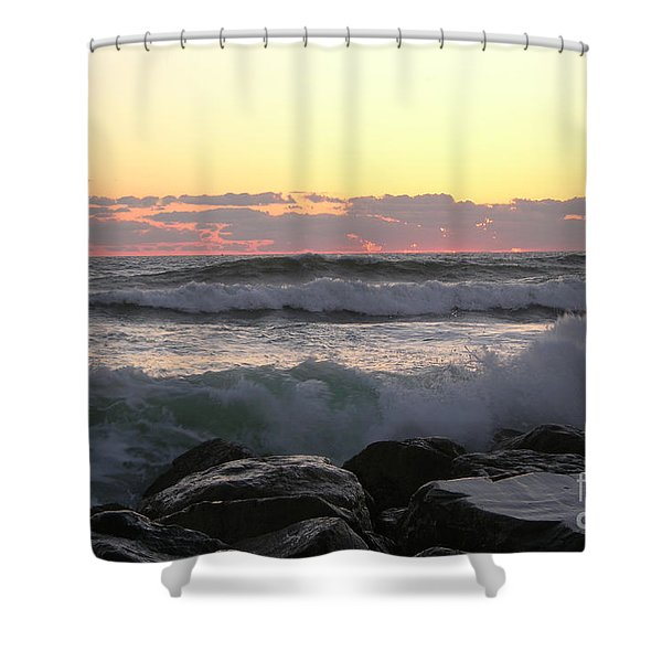 Waves Over The Rocks  5-3-15 Shower Curtain