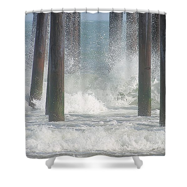 Waves Under The Pier Shower Curtain