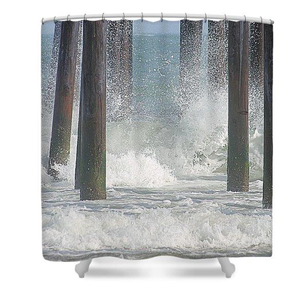 Waves Under The Pier Shower Curtain