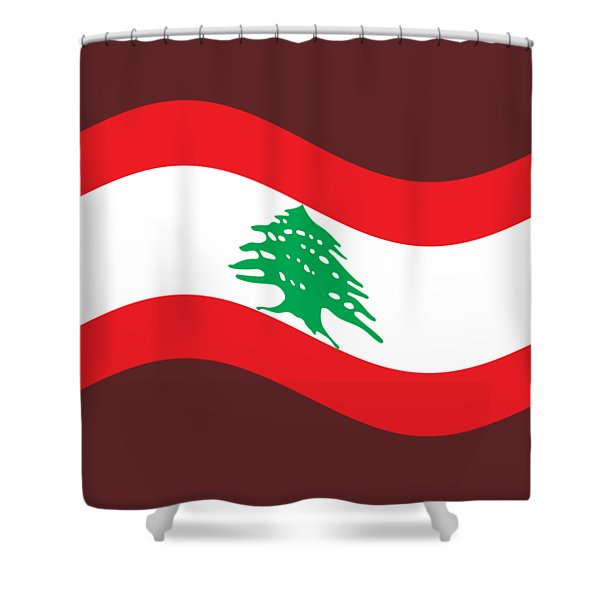 Waving Lebanon Flag Shower Curtain