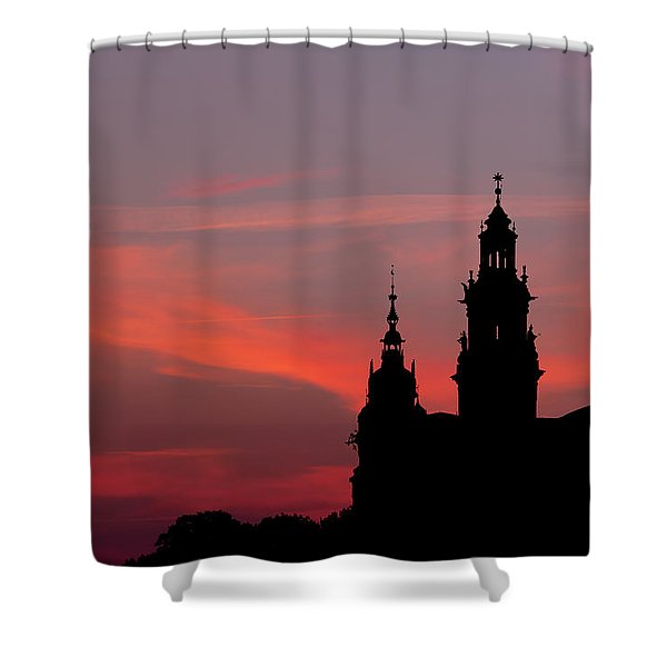 Wawel Castle And Cathedral Silhouette In Krakow Shower Curtain
