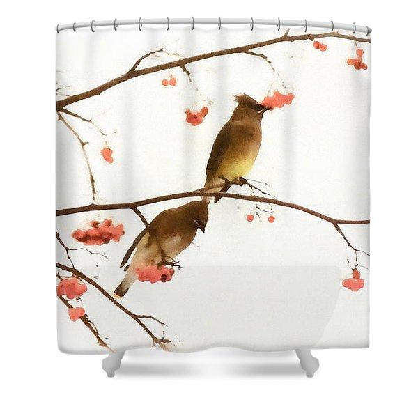 Waxwing Wonders Shower Curtain