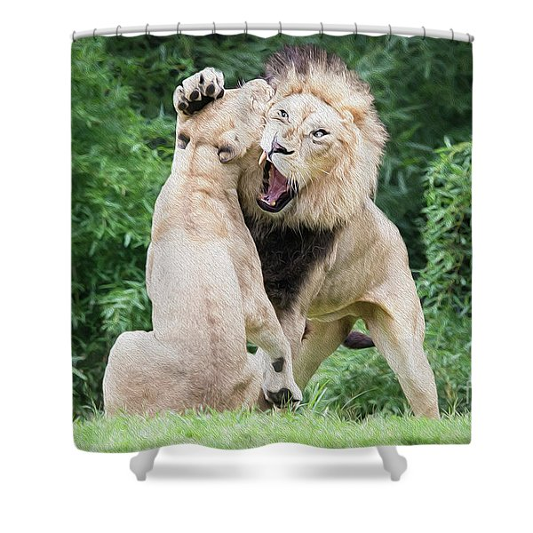 We Are Only Playing Oil Shower Curtain