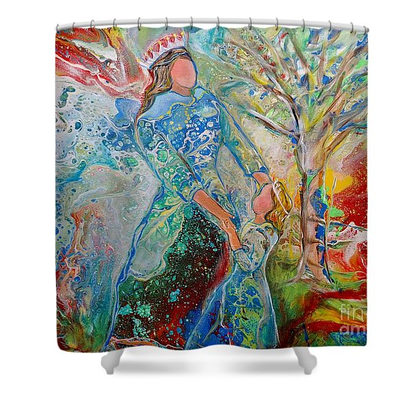 Shower Curtain featuring the painting We Are Royalty by Deborah Nell