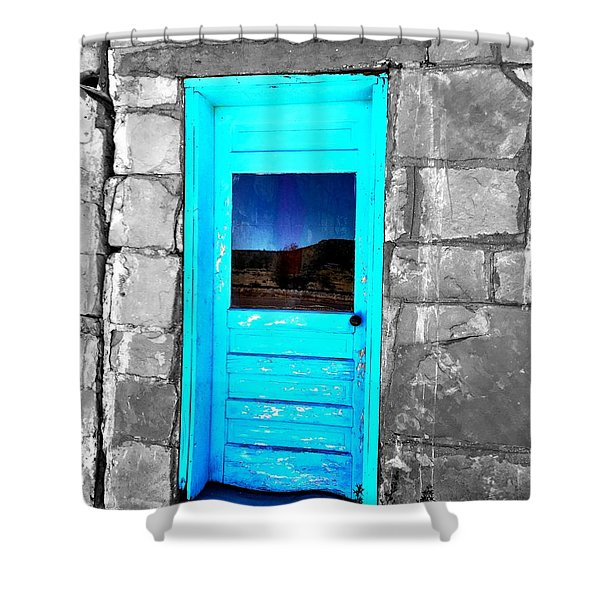 Weathered Blue Shower Curtain